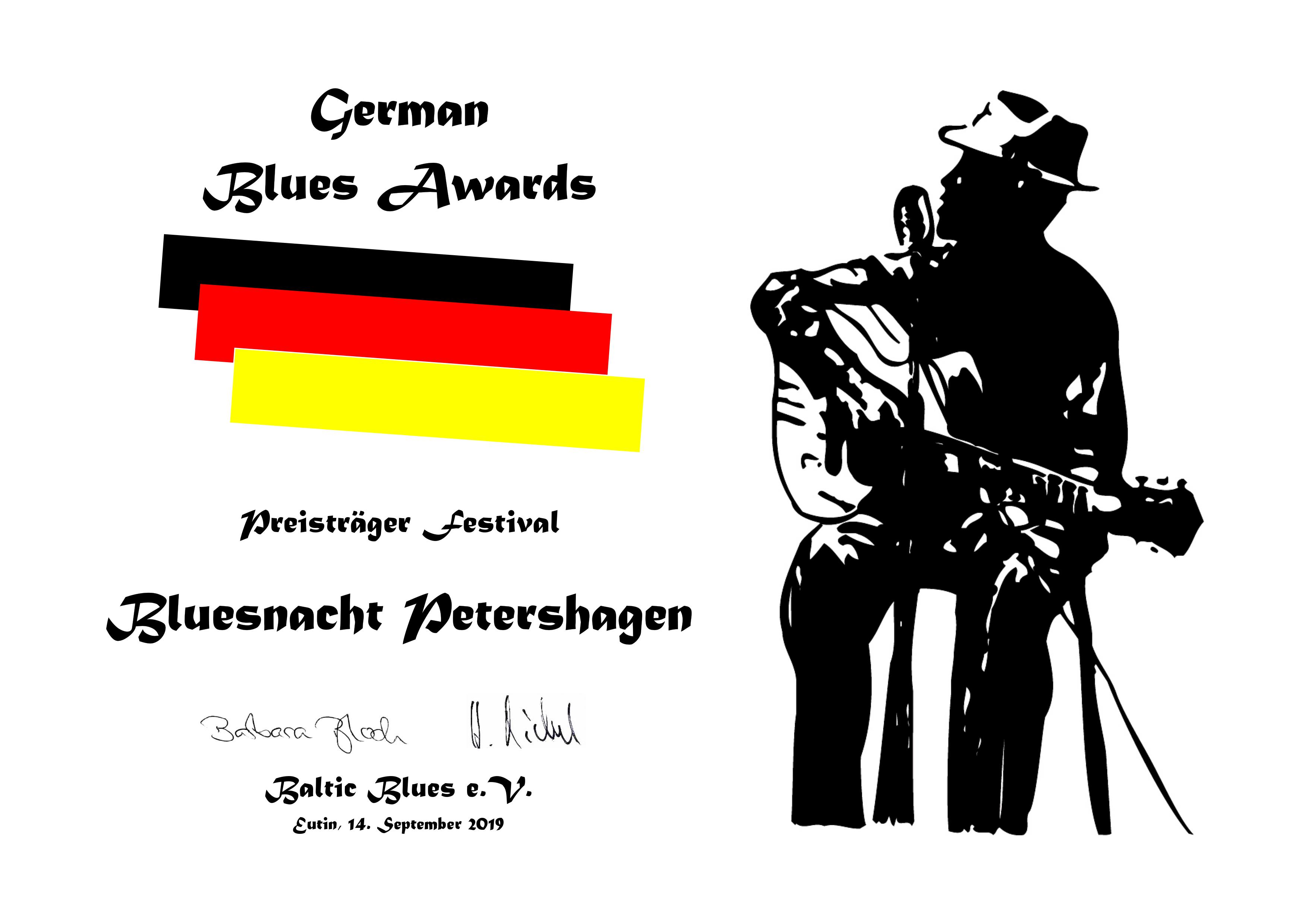 Urkunde German Blues Award 19